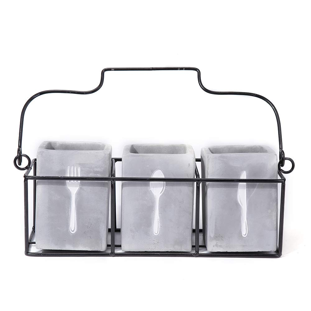 Kitchen Utensil Holder Set (4 Pieces) - 3 Cement Utensil Crocks & 1 Portable Wire Caddy - Embossed Design-Organize Your Flatware & Silverware with Ease (Square)