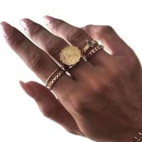 Nicute Gold Rhinestone Stackable Joint Knuckle Ring Vintage Carving Finger Rings Set for Women and Girls(5 Pieces)