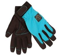 Womanswork Stretch Gardening Glove with Micro Suede Palm, Teal Blue, Medium