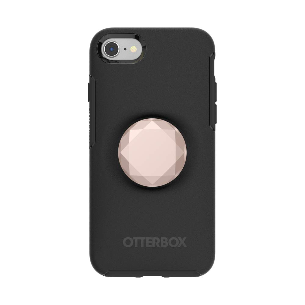 Otter + Pop for iPhone SE, 7 and 8: OtterBox Symmetry Series Case with PopSockets Swappable PopTop - Black and Metallic Diamond Rose Gold