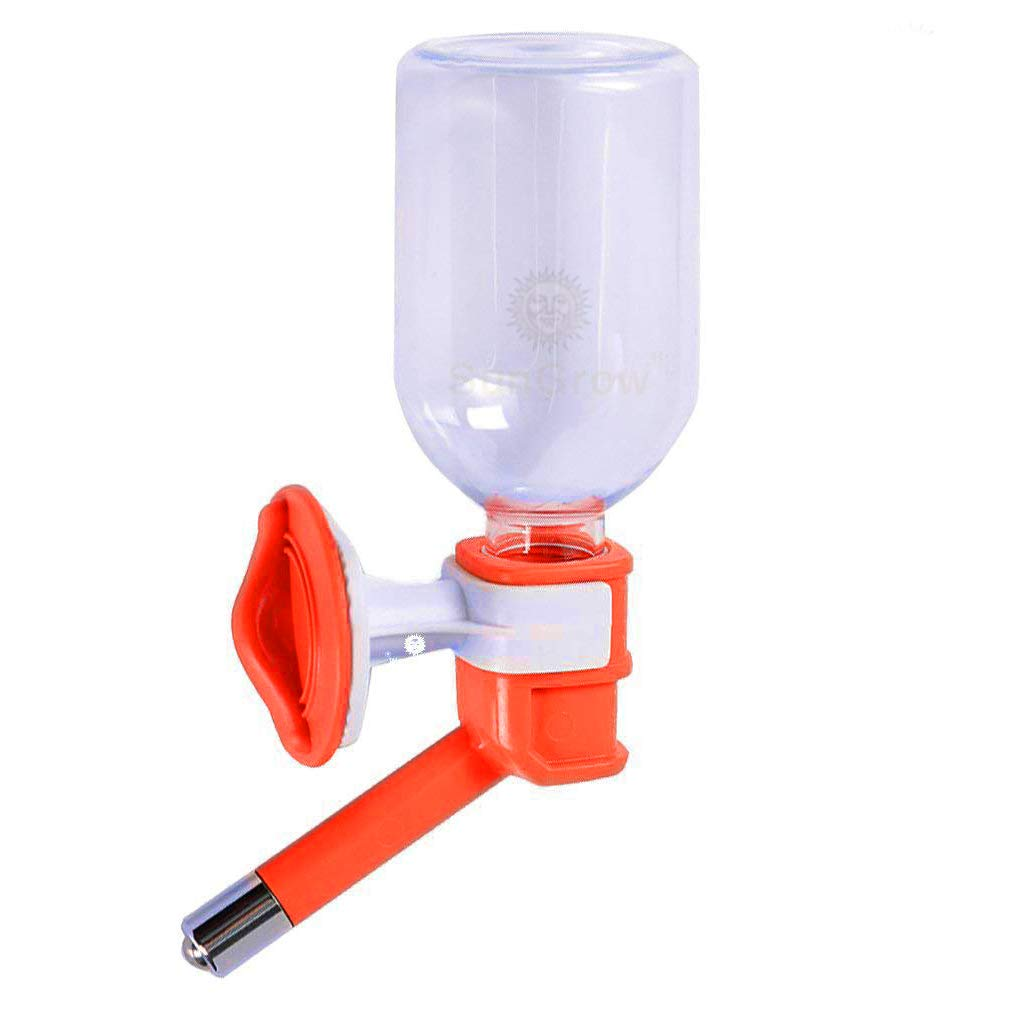 SunGrow Pet Water Bottle, No Drip Dispenser Bottle, Secure Nozzle and Stainless Steel Drinking Head, Easy to Install in Cage or Crate, Easy to Refill, BPA Free, Keep Pets Hydrated, Orange
