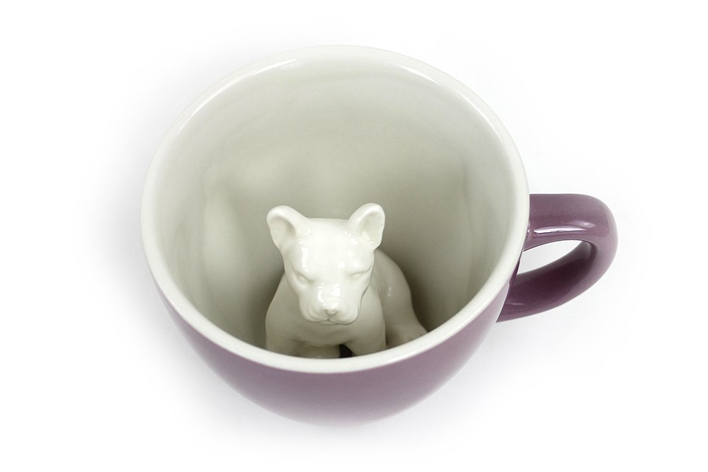 CREATURE CUPS Frenchie Ceramic Cup (11 Ounce, Mauve) | French Bulldog | Dog Mug | Hidden Animal Inside | Holiday and Birthday Gift for Dog, Coffee & Tea Lovers