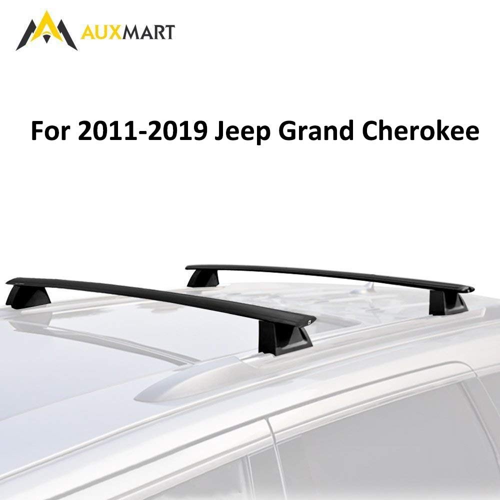 AUXMART Roof Rack Cross Bars Luggage Racks with Locks for 2011–2019 Jeep Grand Cherokee WK2 (Chrome Side Rails Needed) for Cargo Carrier Bike Rack with Locks Anti-Theft