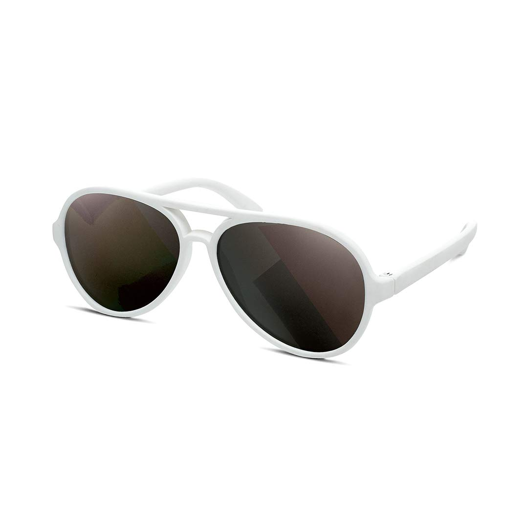 HIPSTERKID Baby Aviators, Polarized Sunglasses with Strap for Babies and Toddlers, Warranty Protected, BPA Free, Ages 3-6, White