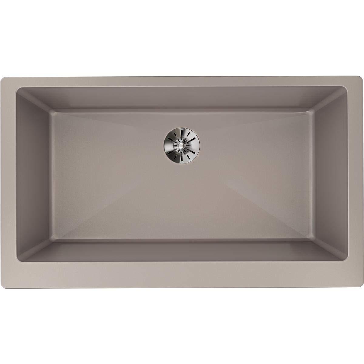 Elkay ELXUFP3620SM0 Quartz Luxe Single Bowl Farmhouse Sink with Perfect Drain, Silvermist
