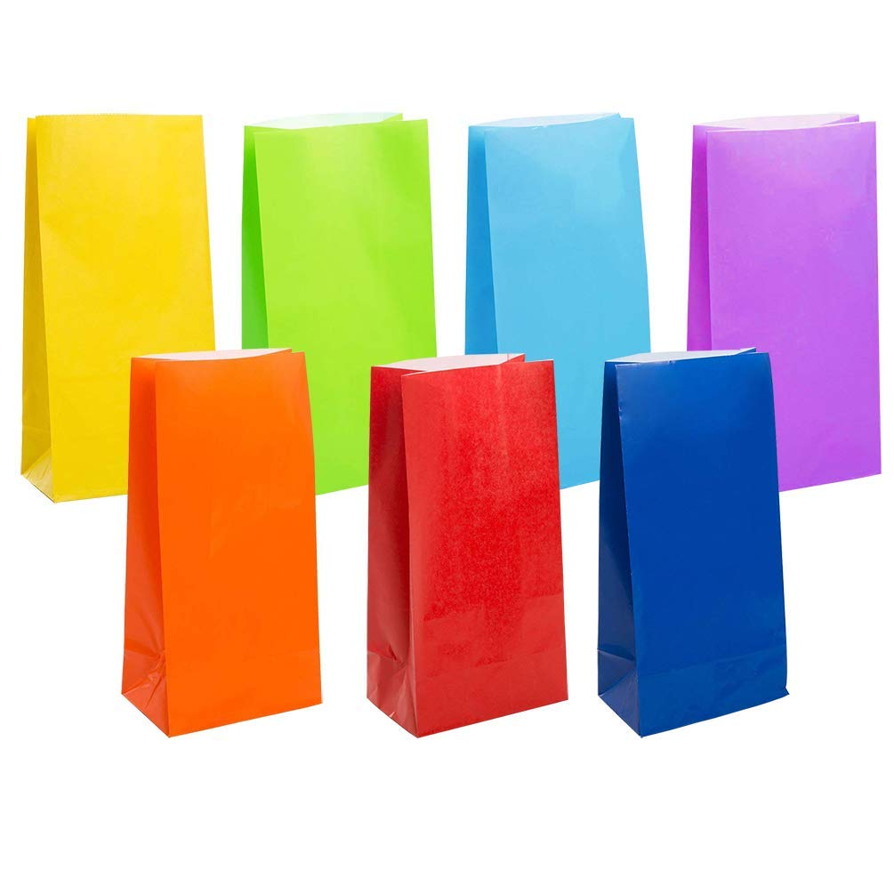 KEYYOOMY Small Bright Color Paper Bags Rainbow Party Goody Bags for Wedding Baby Shower Kid's Birthday Party (Rainbow, 50 CT, 3.5 X 2.4 X 7.1 in)