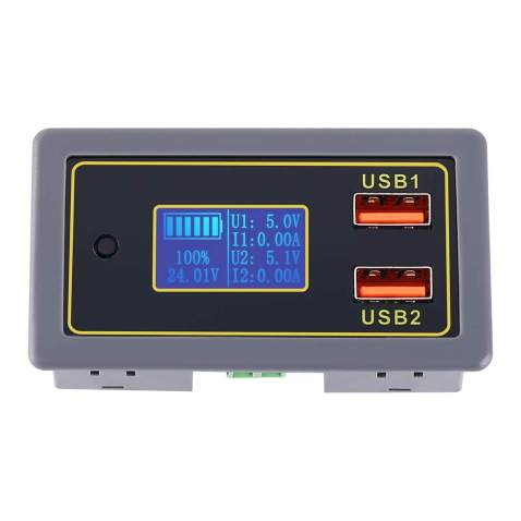 12V 24V Dual USB Car Charge Volt Meter Car Battery Monitor with LED Voltage & Amps Display in Red LED, Lithium,Iron-lithium,acid-lead batteryCar Vehicle Skateboard LCD Digital Power Capacity Monitor