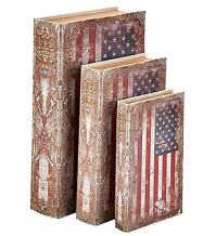 Bellaa 27970 USA Flag Book Box Flux Leather Wood Set of 3