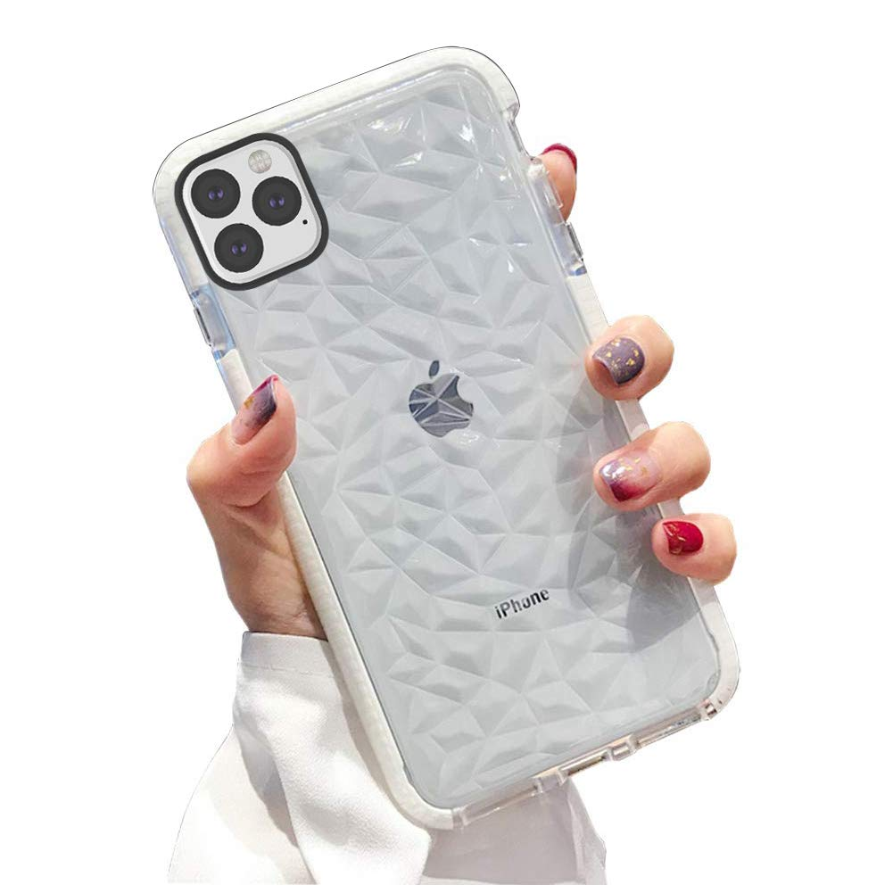 KUMTZO Compatible iPhone 11 Pro Max Case, Crystal Clear Slim Diamond Pattern Soft TPU Anti-Scratch Shockproof Protective Cover for Women Girls Men Boys with iPhone 11 Pro Max 6.5 inch - White