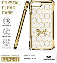 Ghostek iPhone 7 Plus Case, Covert Series for Apple iPhone 8 Plus Premium Hybrid Impact Protective Armor Case Cover | Clear TPU | Explosion-Proof Screen Protector | Ultra Fit | Spring Corners (Gold)