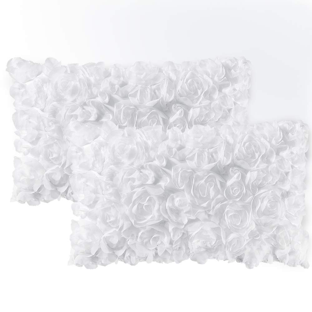 MIULEE Pack of 2 Decorative Romantic Stereo Chiffon Rose Flower Pillow Cover Solid Square Pillowcase for Sofa Bedroom Car 12x20 Inch 30x50 cm White