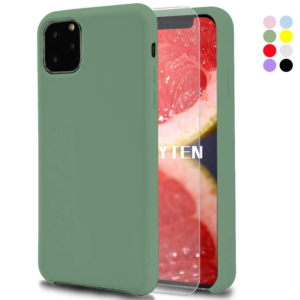 Fatcatparadise Case for iPhone 11 Pro Max (6.5 Inches) [with Free Tempered Screen Protector] Liquid Silicone Gel Rubber Soft Touch Cover Full Protective Case (Green)