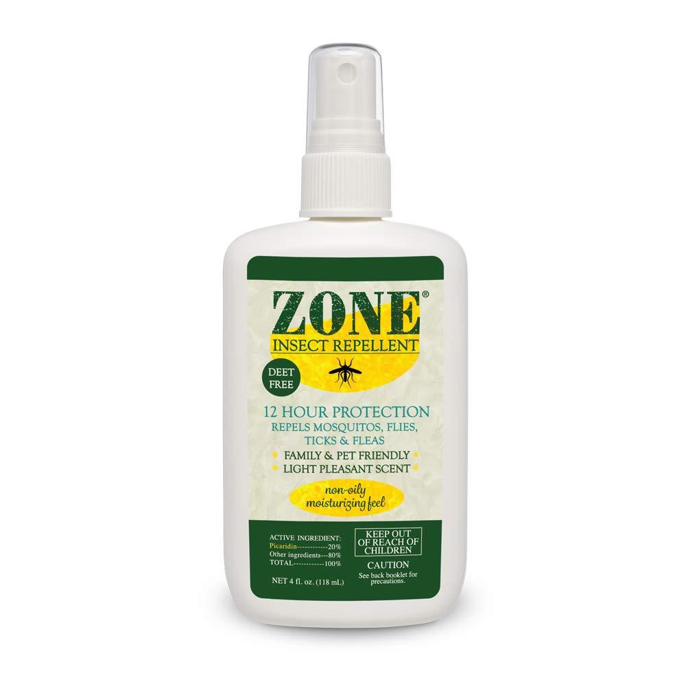 Zone Repellent Bug Spray   Flea, Tick, Mosquito Picaridin Insect Repellent Spray   DEET-Free Bug Repeller (4 oz Spray Bottle
