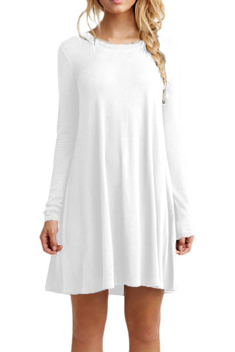 YMING Women's Summer Casual Mini Dress Long Sleeve Tshirt Dresses Plus Size XS-4XL