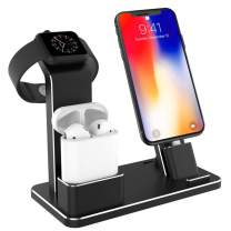 Tinfence Charging Stand for iWatch Charging Stand Dock Station for AirPods iWatch Series 4/3/2/1/ iPhone X/XS/XS Max/8/8Plus/7/7Plus/6S/6S Plus Black