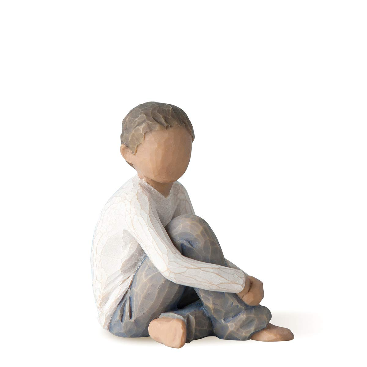 Willow Tree Caring Child (Darker Skin Tone & Hair Color), Sculpted Hand-Painted Figure