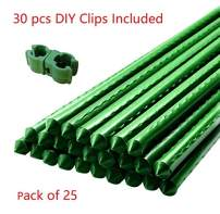 MTB Metal Garden Stakes 48 Inches (4 Ft), Steel Plant Stakes, Pack of 25, with Universal Buckles for DIY
