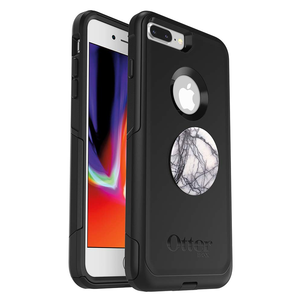 Bundle: OtterBox Commuter Series Case for iPhone 8 Plus & iPhone 7 Plus (ONLY) – (Black) + PopSockets PopGrip – (Dove White Marble), Model:78-52383