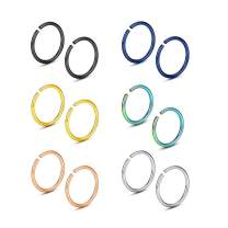 WBRWP 316L Stainless-Steel Piercing-Ring Hinged Nose-Rings-Hoop : 20G 18G 20g 14G Womens and Mens Body Pierecing Ring Segment Clicker Lip Rings Cartilage Rook Earrings Diameter 6mm 8mm 10mm 12mm