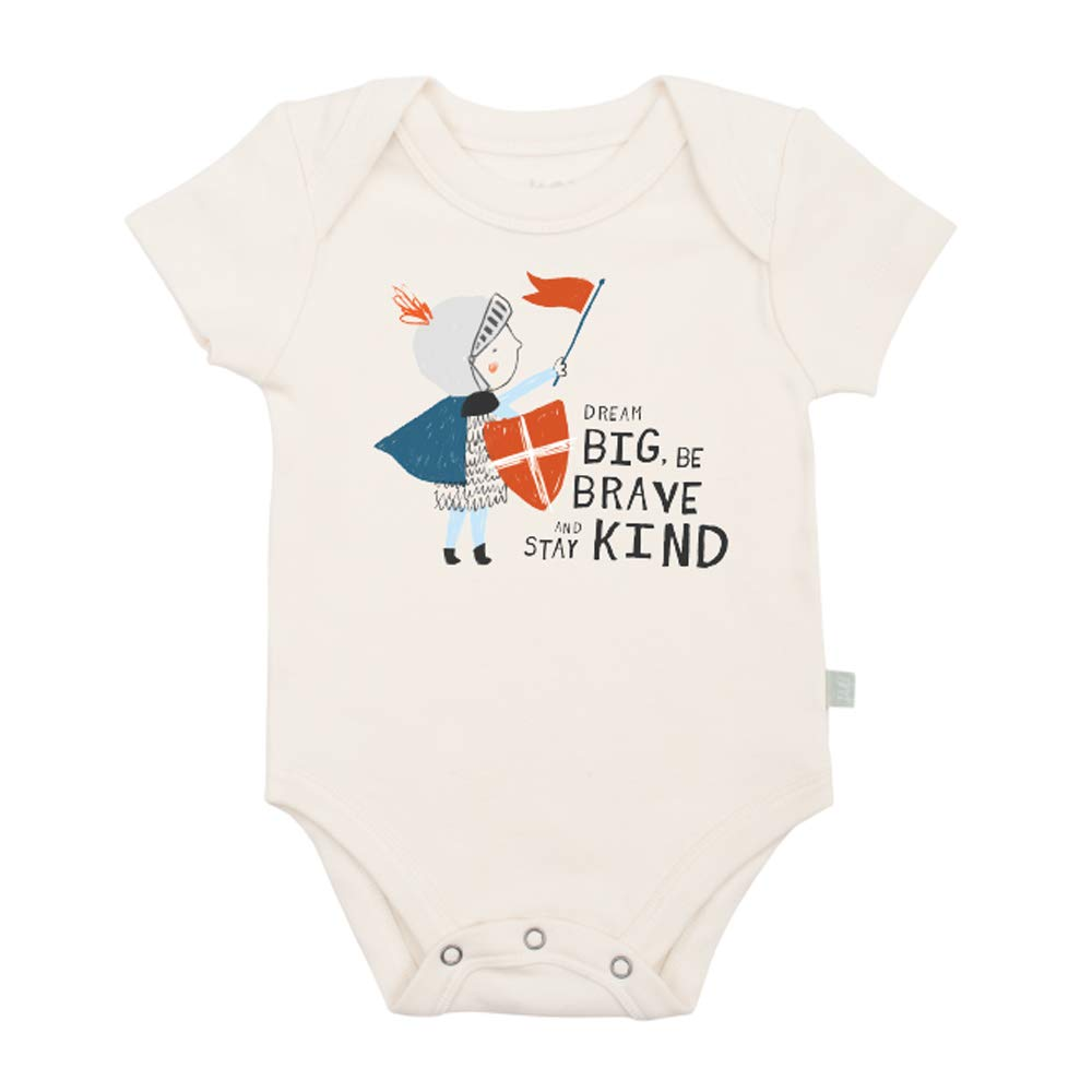 Finn + Emma Organic Cotton Graphic White Baby Bodysuit - Be Kind, 6-9 Months