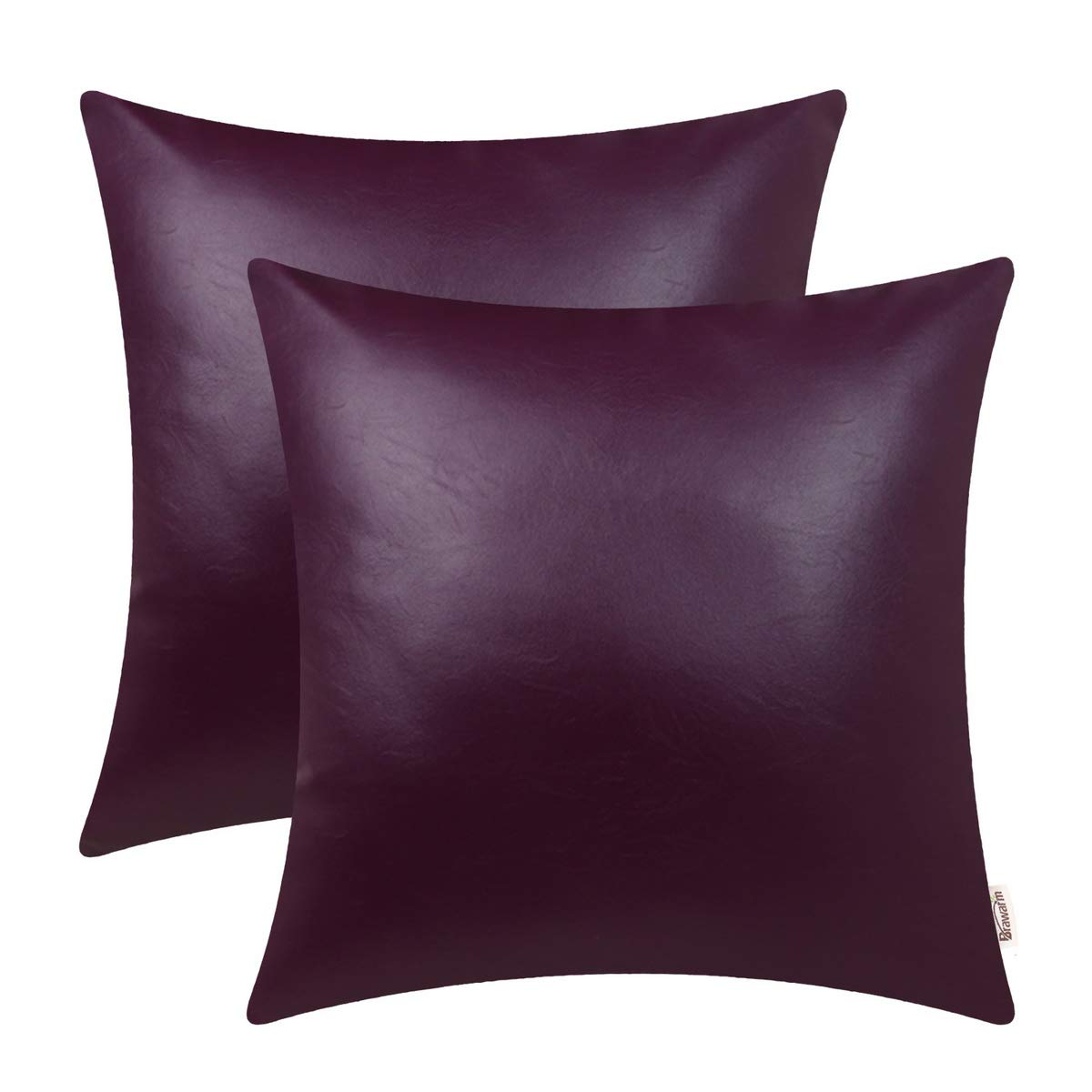 BRAWARM Pack of 2 Cozy Throw Pillow Covers Cases for Couch Sofa Home Decoration Solid Dyed Soft Faux Leather Both Sides 22 X 22 Inches Deep Purple