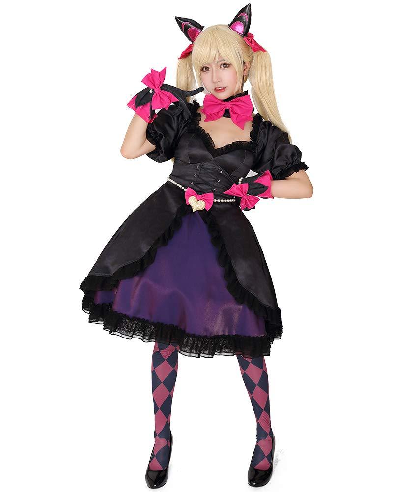 miccostumes Women's Dva Black Cat Skin Cosplay Costume Dress with Petticoat