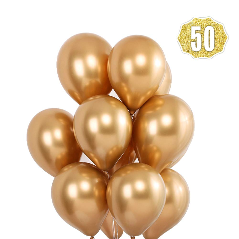 HoveBeaty Gold Balloons Chrome Shiny Metallic Latex 12 Inch Thicken Balloons 50 Pack for Wedding Party Baby Shower Christmas Birthday Carnival Party Decoration Supplies