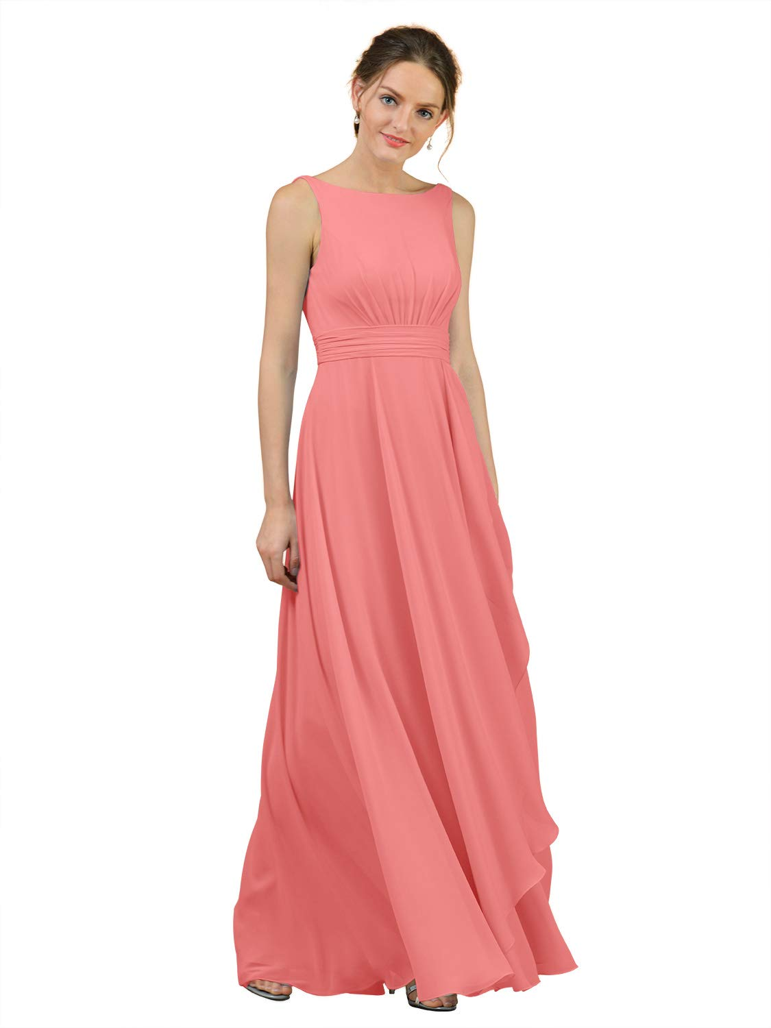 Alicepub Boat Neck Long Bridesmaid Dresses Chiffon Formal Party Evening Dress for Women