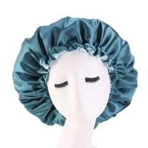 Cospack Satin Bonnet Sleep Bonnet Cap - Extra Large Double Layer Reversible Adjustable Satin Cap for Sleeping Hair Bonnet Green+Lgreen