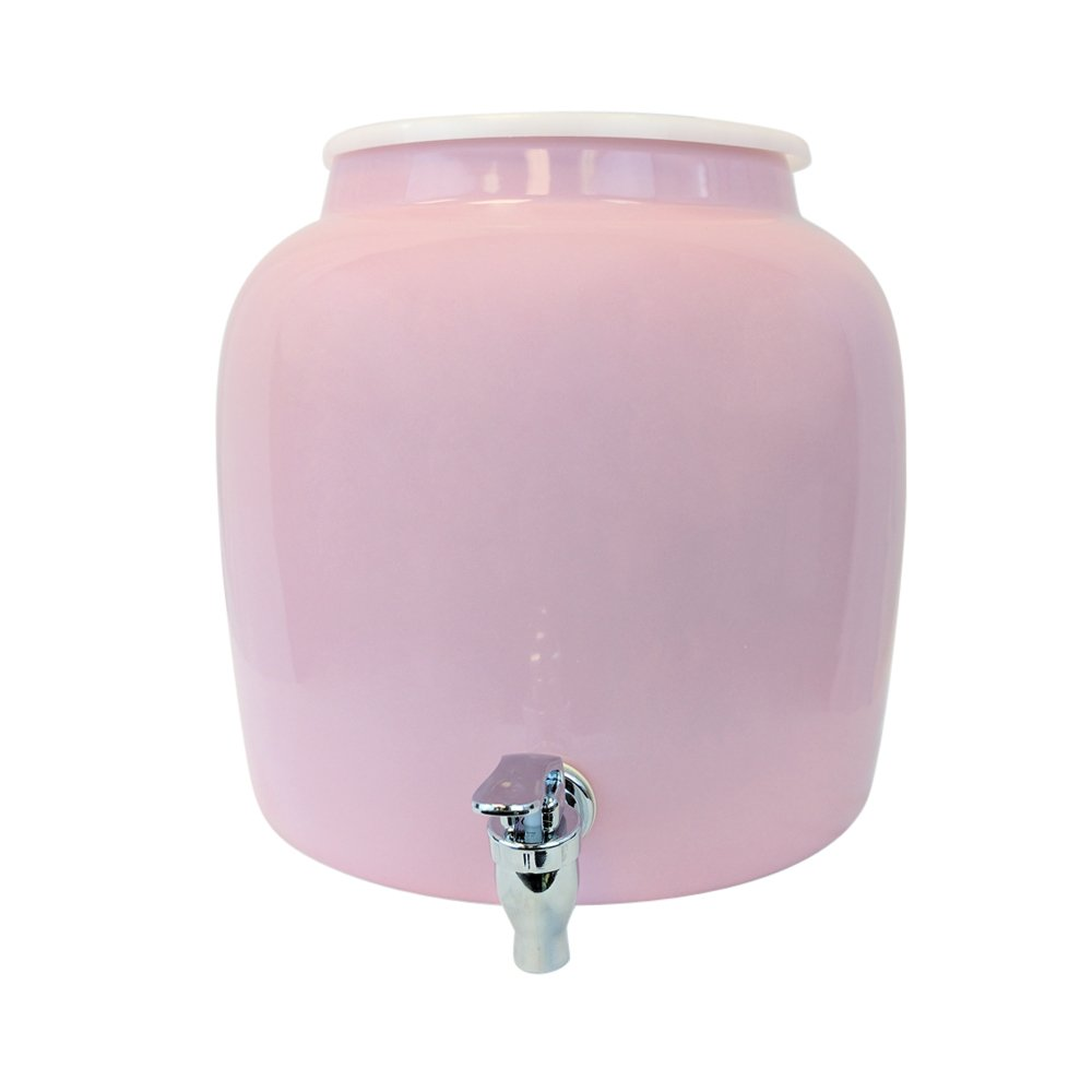 Porcelain Water Dispenser Crock - 2.5 Gallons - Comes with Crock Ring Protector and Chrome Painted Spigot Faucet - For Use With Water, Kombucha, Punch and More - Pink