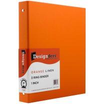 JAM PAPER Premium Linen Textured 1 inch Binders - Orange 3 Ring Binder - Sold Individually