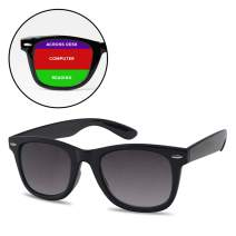 Classic Retro Multifocal Readers - 3 Powers in 1 Trifocal Computer, Surrounding Reading Glasses (Black Frame | Black Lens, 1.50)