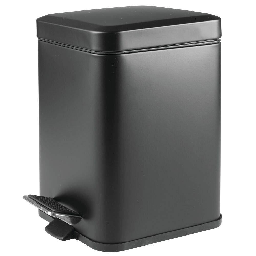 mDesign 1.5 Gallon Square Small Metal Step Trash Can Wastebasket, Garbage Container Bin for Bathroom, Powder Room, Bedroom, Kitchen, Craft Room, Office - Removable Liner Bucket - Matte Black