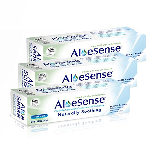 AloeSense Naturally Soothing Fluoride Toothpaste, Fresh Mint, 0.75 oz Travel Size (3 Count)