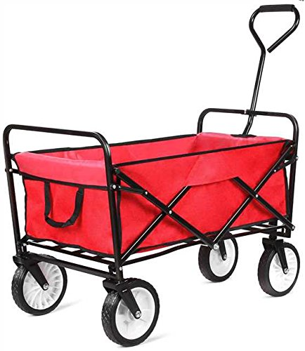 femor Collapsible Folding Outdoor Utility Wagon, Heavy Duty Garden Cart for Shopping Beach Outdoors (Red)