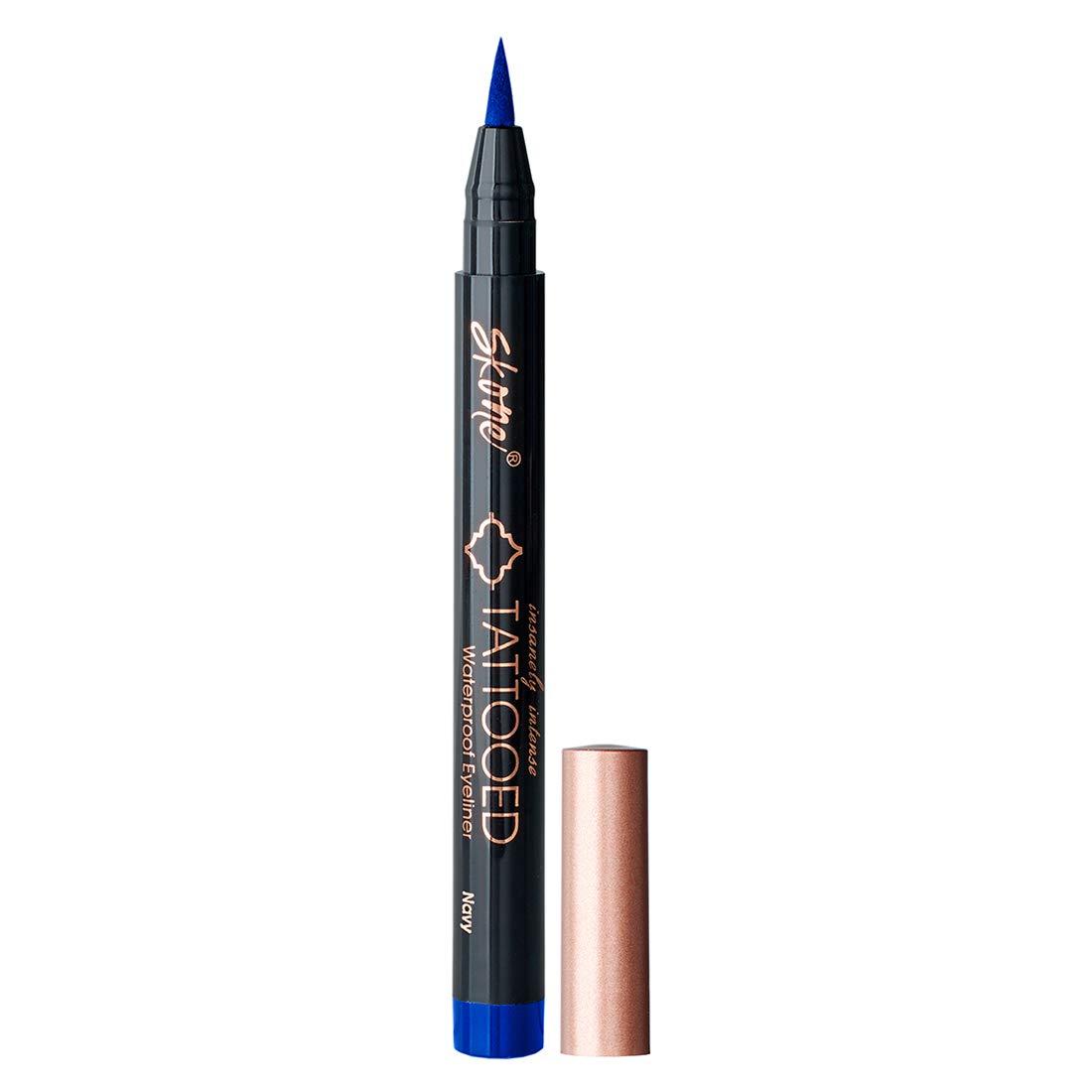 Skone Insanely Intense Tattooed Liquid Eyeliner - Waterproof Longlasting Smudge Proof - Get 4X More (Navy Eyeliner)