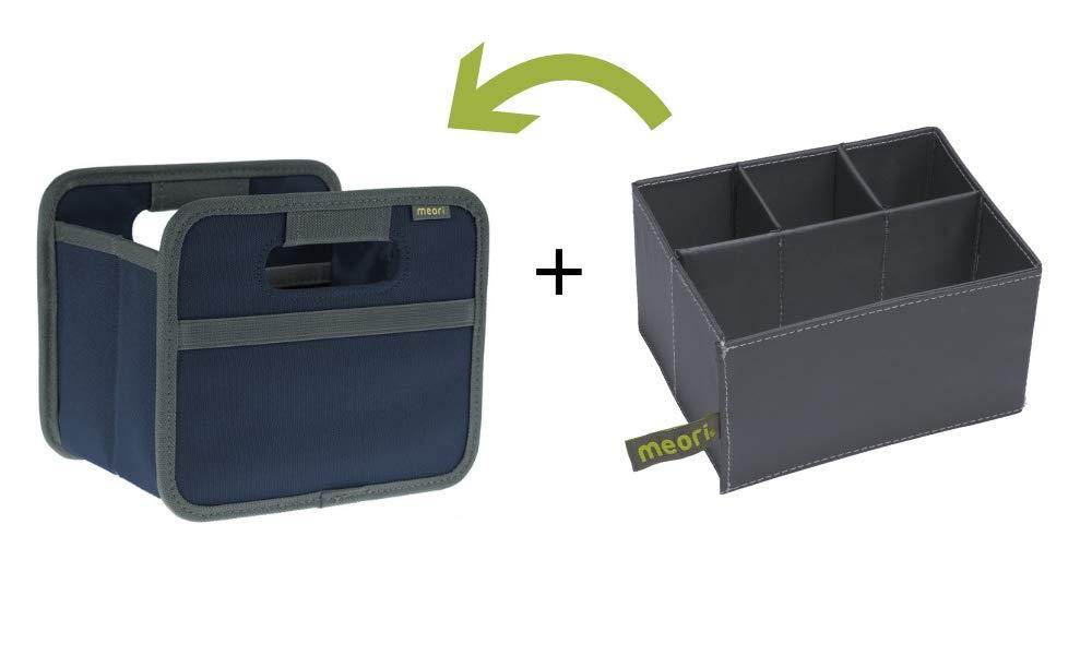 meori Marine Foldable Box Mini Blue + Insert Butler Desk Organizer Bathroom Kitchen Crafts Accessories Jewelry Make-up, Bundle