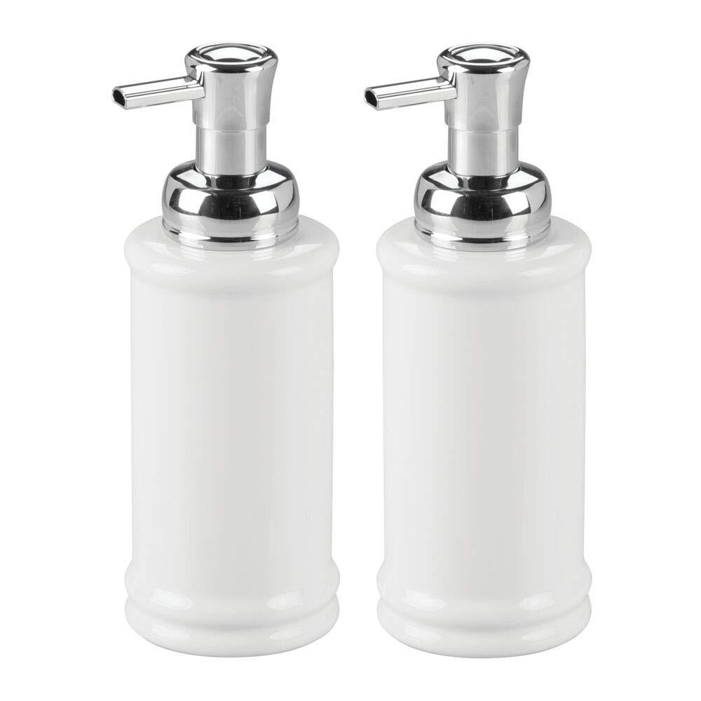 Mdesign Decorative Ceramic Refillable Foaming Hand Soap Dispenser Pump Bottle For Bathroom Vanity Countertop Kitchen Sink Save On Soap Vintage Inspired Compact Design 2 Pack White Chrome