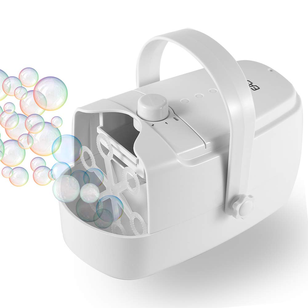 EASYCEL Automatic Bubble Machine, Portable Auto Bubble Blower, Durable Bubble Maker for Outdoor and Indoor Use, Powered by Plug-in or Batteries with Two Speed Modes (White)