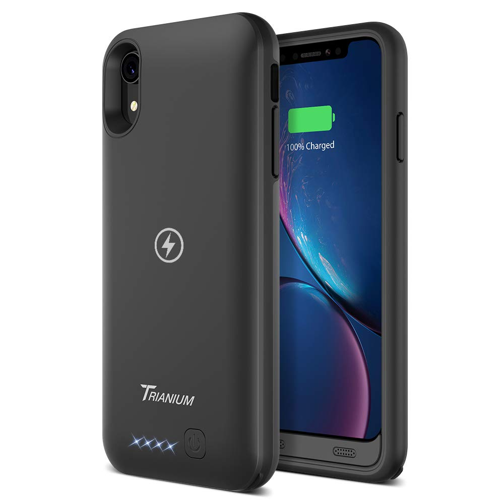"""Trianium Atomic Pro 3500mAh Battery Case Compatible with Apple iPhone XR (6.1"""") Case with Qi Wireless Charging Technology Rechargeable Protective Extended Power Case [Work on Wireless Charger Pad]"""
