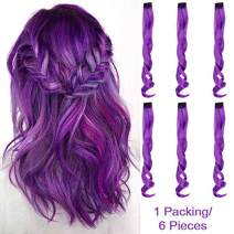 """Creamily 6 Pcs Multi-Colors Party Highlights Clip on in Hair Extensions Synthetic Hairpieces (20"""" Curly, 6 Pcs Purple)"""