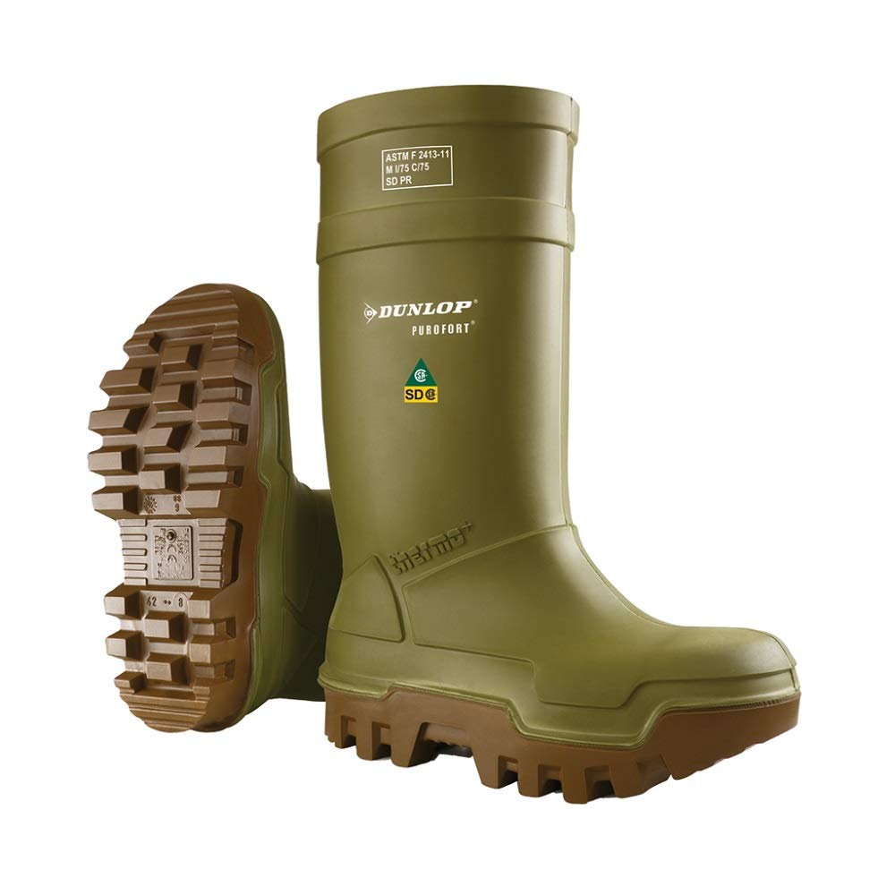 Dunlop E66284315 Purofort Thermo+ Full Safety Omega/EH Cold Protection Boot, Premium Insole, -58°F Cold Insulation, Steel Toe Cap, Green/Brown, Size 15