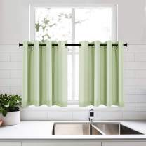 KEQIAOSUOCAI Mint Green Curtain Tiers for Kids Room 36 Inch Small Short Half Curtains for Kitchen Bathroom Basement Light Green 52x36