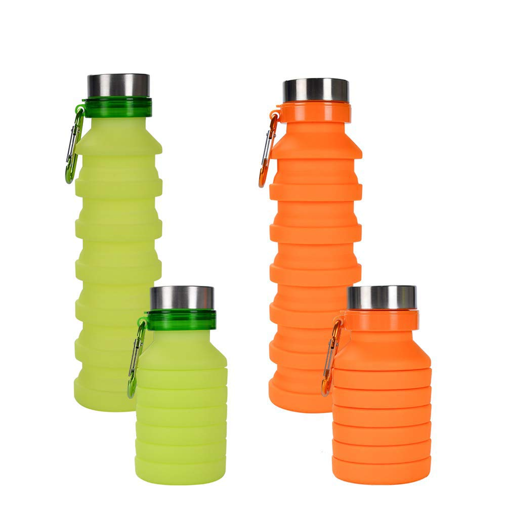 ZOORON Collapsible Water Bottle, BPA Free Silicone Foldable Travel Water Bottle Set Lightweight/Eco-Friendly Water Bottles with Carabiner Designed for Travel and Outdoor