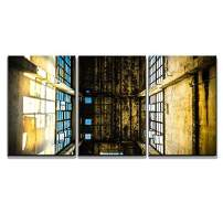 "wall26 - 3 Piece Canvas Wall Art - Discarded Ruin with Old Windows and Wall, Industrial Window in Concrete Wall - Modern Home Decor Stretched and Framed Ready to Hang - 16""x24""x3 Panels"
