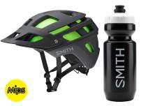 Smith Forefront 2 MIPS Cycling Helmet (Matte Black, Medium) Bundle | Includes Smith Water Bottle | Aerocore, VaporFit & AirEvac Ventilation | Mountain Rider Helmet