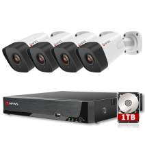 HFWS 5MP Security Cameras System,4x5MP PoE IP Camera,8CH NVR,Include 1TB HDD,Motion Detection,Night Vision,Support Audio
