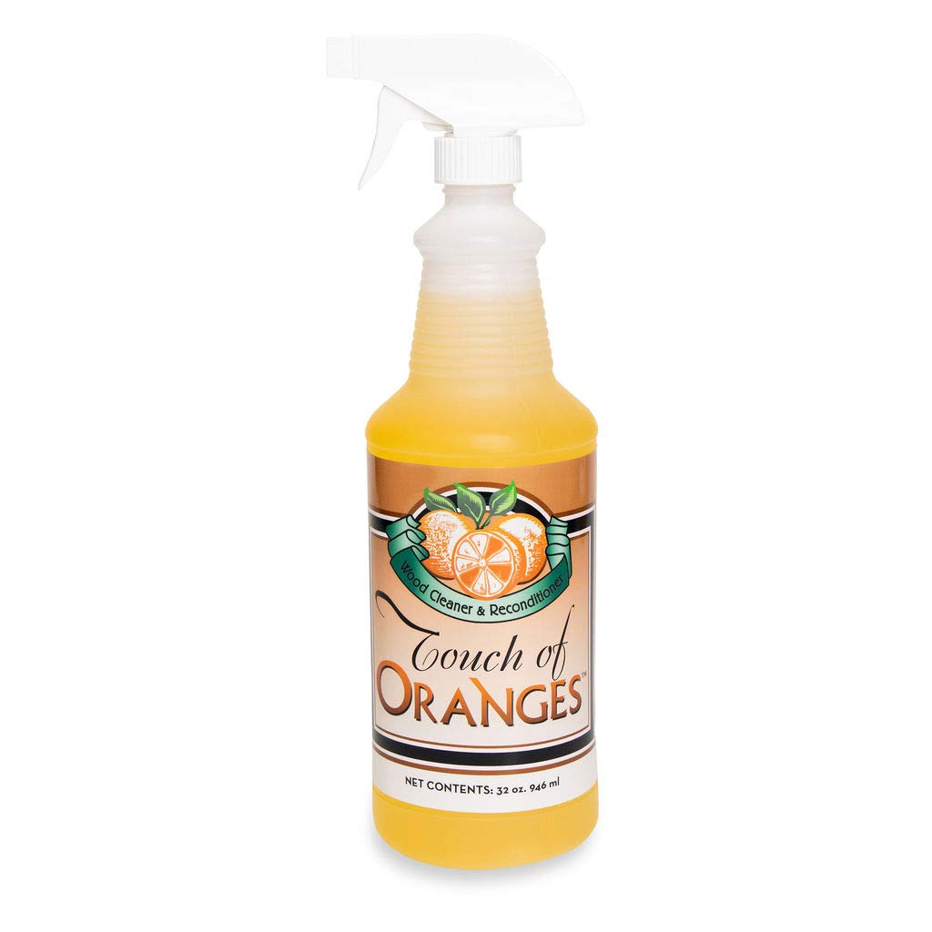 Touch Of Oranges Wood Cleaner & Polish Spray Real Orange Oil Luster Finish, Clean Kitchen Cabinets, Hardwood Floor and All Wood, Restorer, Conditioner - 32 oz