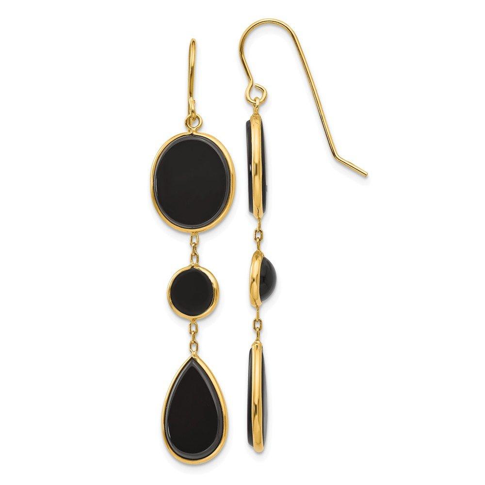14k Yellow Gold Black Onyx Geometric Drop Dangle Chandelier Earrings Fine Jewelry For Women Gifts For Her