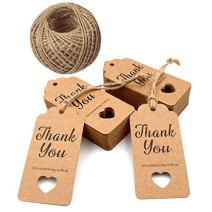 Gift Tags,Baby Shower Tags,Hollow Heart Thank You for Celebrating with Us Tags,100 Pcs Kraft Thank You Tags Shower Favors Tags for Wedding Party Favors Thanksgiving with 100 Feet Natural Jute Twine